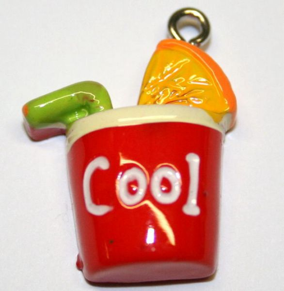 RED COOL COCKTAIL FOOD CHARM 20MM X 10MM CHFD1039